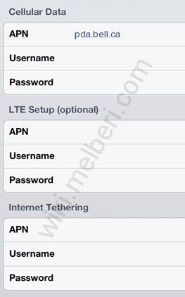 Bell APN Settings for IPhone ipad