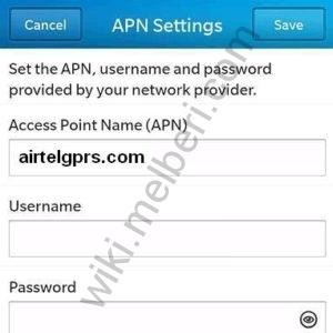 Airtel India Blackberry 10 APN Settings: