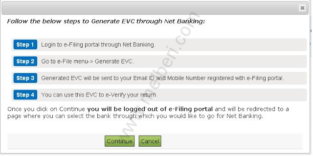 Option 2- Generate EVC Through Net Banking