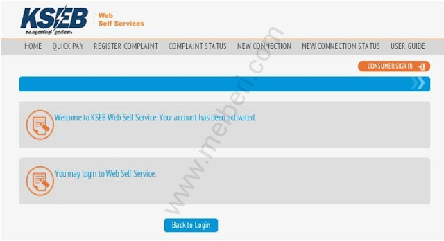 Welcome to KSEB Web Self Service. Your account has been activated