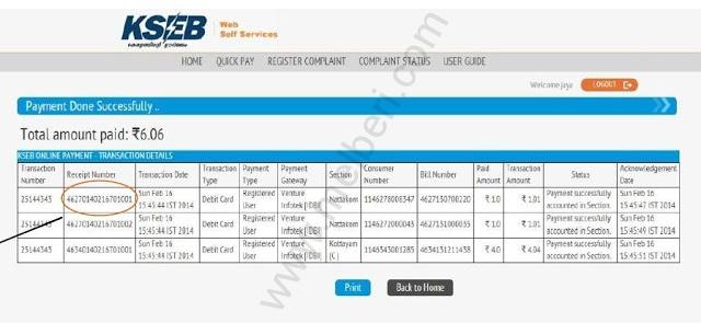 KSEB Online Payment Succesful