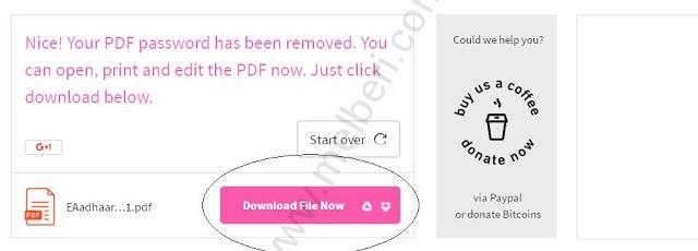 Remove the E Aadhaar Card PDF Password Online 3