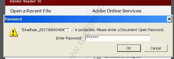 The Default Password to open Downloaded E-Aadhaar Card