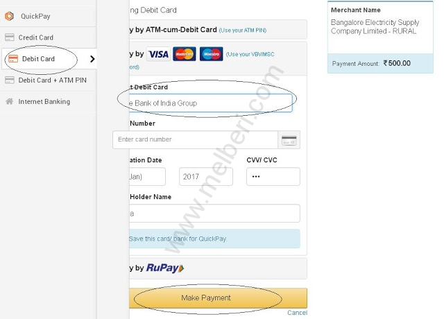 BESCOM Online Payment through Debit Card