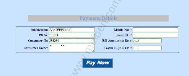 BESCOM Payment Details Page